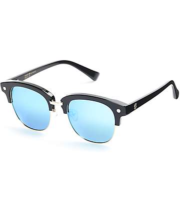 Glassy Sunhaters Carrie Black, Gold & Blue Mirrored Polarized Sunglasses
