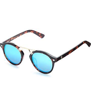 Glassy Sunhaters Swift Tortoise & Blue Mirrored Polarized Sunglasses