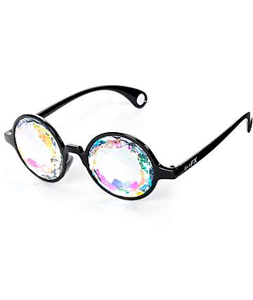 GloFX Kaleidoscope Crystal Rainbow Black Glasses