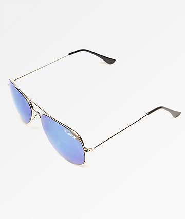 GloFX Metal Aviator Diffraction Blue Mirror Sunglasses