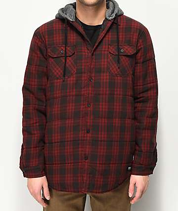 Globe Alford III Red Plaid Hooded Jacket