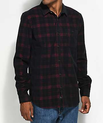 Globe Burgundy & Black Corduroy Flannel Shirt