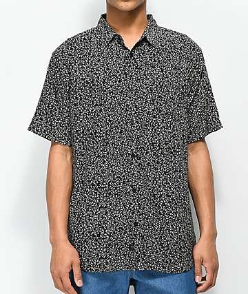 Globe Distance Black Short Sleeve Button Up Shirt