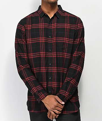 Globe Dock Red & Black Flannel Shirt