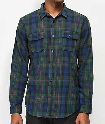 Globe Flanigan camisa de franela verde y azul