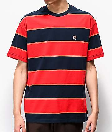 Globe Frenzy Red & Navy Striped T-Shirt