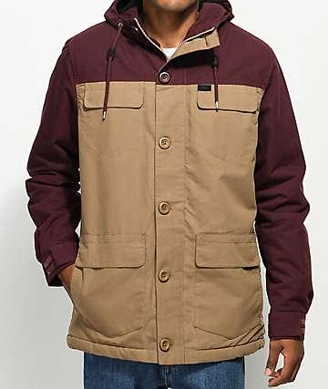 Globe Goodstock Block Burgundy & Khaki Parka Jacket