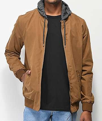 Globe Goodstock chaqueta bomber con capucha marrón