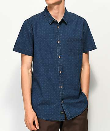 Globe Iris Indigo Short Sleeve Button Up Shirt