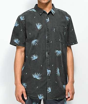 Globe Kana Black Palm Printed camisa de manga corta