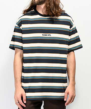 Globe Montage Stripe Cream T-Shirt