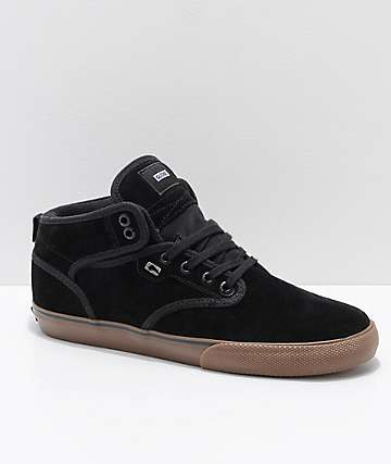 Globe Motley Mid Black & Gum Twill Skate Shoes