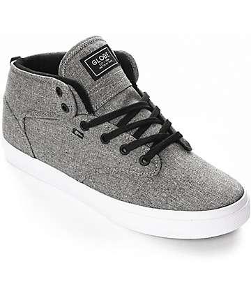 Globe Motley Mid Black & White Chambray Skate Shoes
