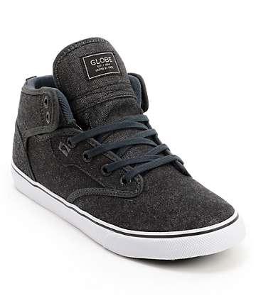 Globe Motley Mid Black Denim Skate Shoes
