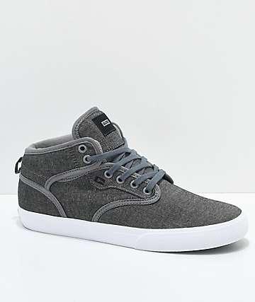 Globe Motley Mid zapatos de skate de tela asargada en color carbón y blanco