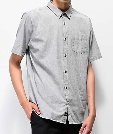 Globe Spaceout Grey & Cobalt Blue Short Sleeve Button Up Shirt