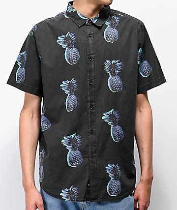 Globe Stencil Pineapple Black Washed Short Sleeve Button Up Shirt