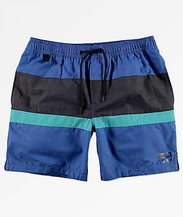 Globe Throwback Blue Elastic Waist Board Shorts