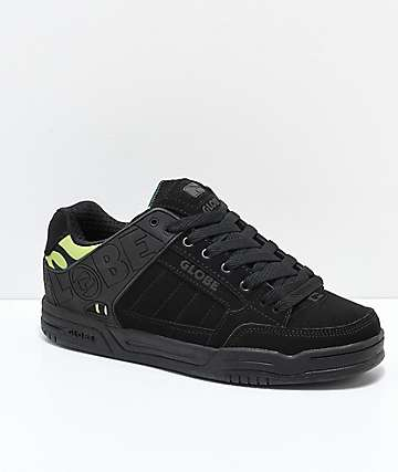 Globe Tilt Black & Green Camo Nubuck Skate Shoes