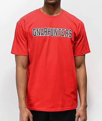 Gnarhunters Outline Logo Red T-Shirt