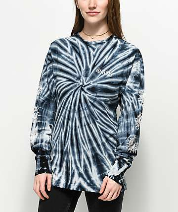 Gnarly Aztec Black Tie Dye Long Sleeve T-Shirt