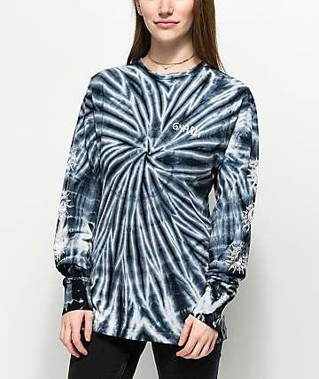 Gnarly Aztec Black Tie Dye Long Sleeve T-Shirt