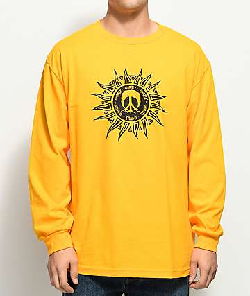 Gnarly Aztec Sun Mustard Long Sleeve T-Shirt