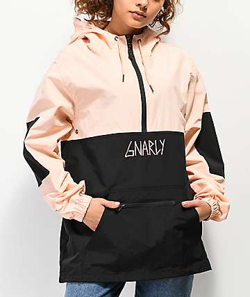 Gnarly Danorak 2 Pale Pink & Black Anorak Jacket