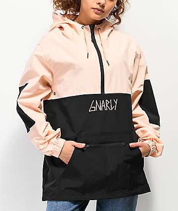 Gnarly Danorak 2 Pale Pink & Black Anorak Jacket