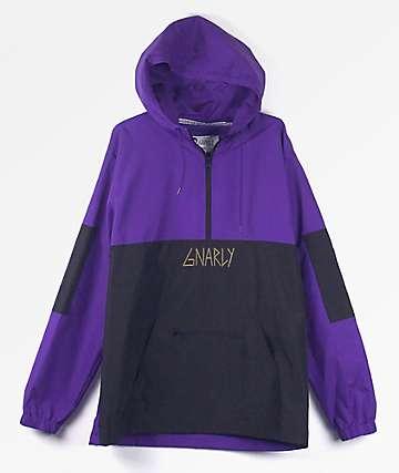 Gnarly Danorak Purple & Black Anorak Windbreaker Jacket