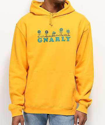 Gnarly Flower Bed Mustard Hoodie