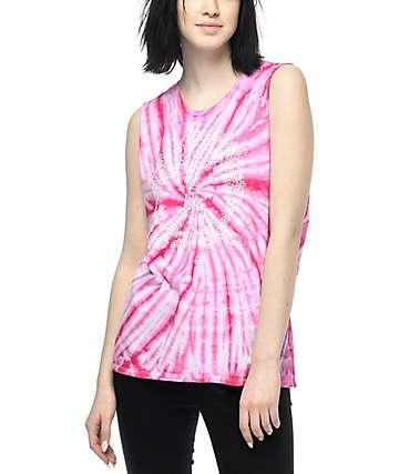 Gnarly Flower Power camiseta con sisas recortadas y efecto tie dye