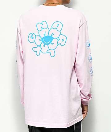 Gnarly Joy Flower camiseta rosa de manga larga