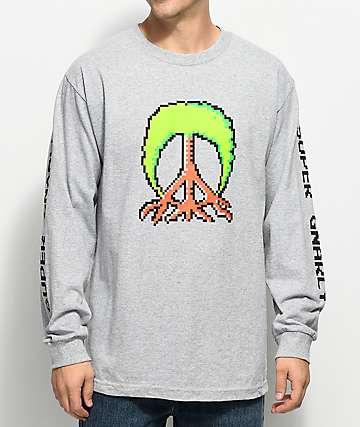 Gnarly Mario Tree Grey Long Sleeve T-Shirt