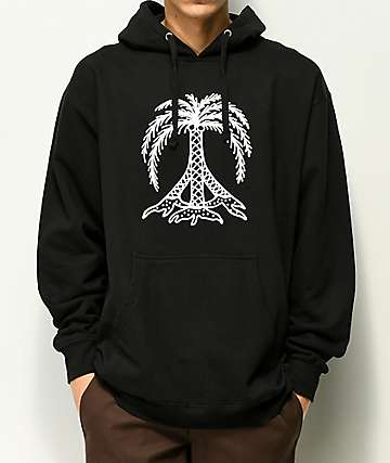 Gnarly Peace Palm sudadera negra con capucha
