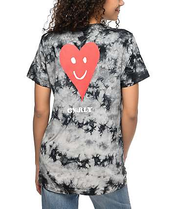 Gnarly Proddi Heart Black Crystal Wash T-Shirt