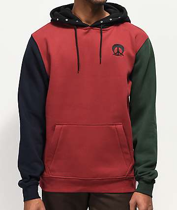 Gnarly Red, Black & Green Colorblock DWR Hoodie