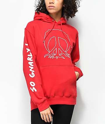 Gnarly So Gnarly Peace Tree Red Hoodie