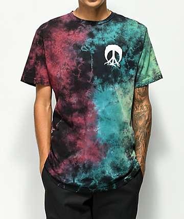 Gnarly Spill camiseta negra con efecto tie dye