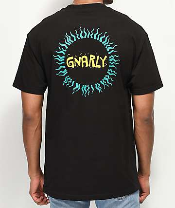 Gnarly Tribal Sun Black T-Shirt