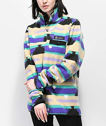 Gnarly Vegabond Polar Print Fleece Sweatshirt