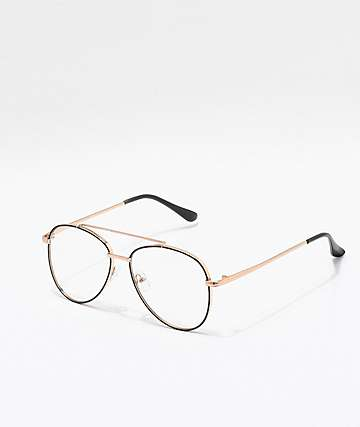 Gold & Clear Aviator Glasses