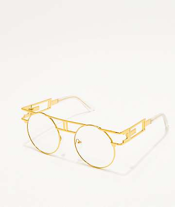 Gold & Clear Round Glasses