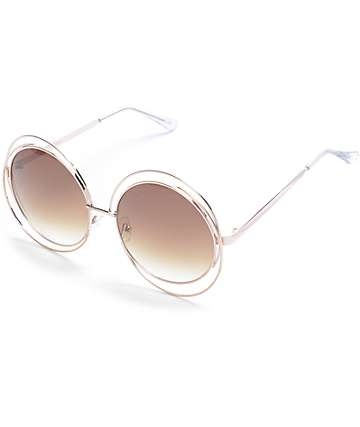 Gold Double Frame Oversize Round Sunglasses