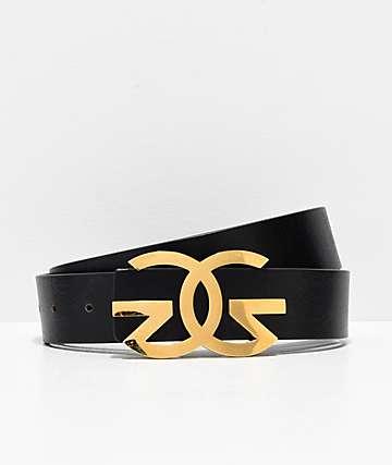 Gold Gods Black & Gold Leather Belt