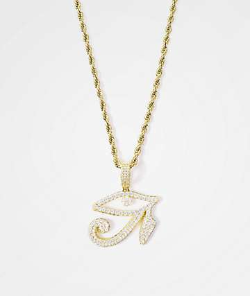 "Gold Gods Diamond Eye Of Horus Pendant & 22"" Rope Chain Necklace"