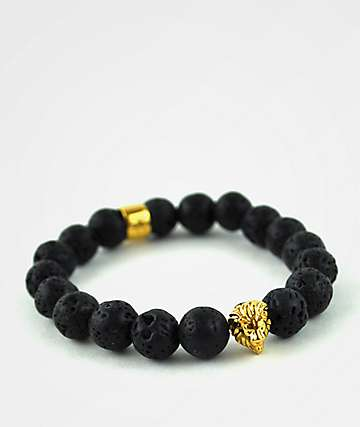 Gold Gods Lion Lava Stone Beaded Bracelet