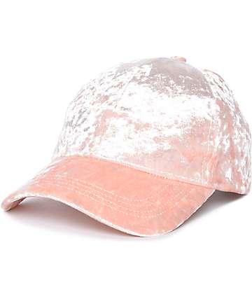 Gorra béisbol de terciopelo rosa
