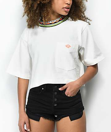 Gotcha Fresh Solid White Crop T-Shirt
