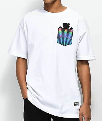 Grizzly Above The Clouds White Pocket T-Shirt
